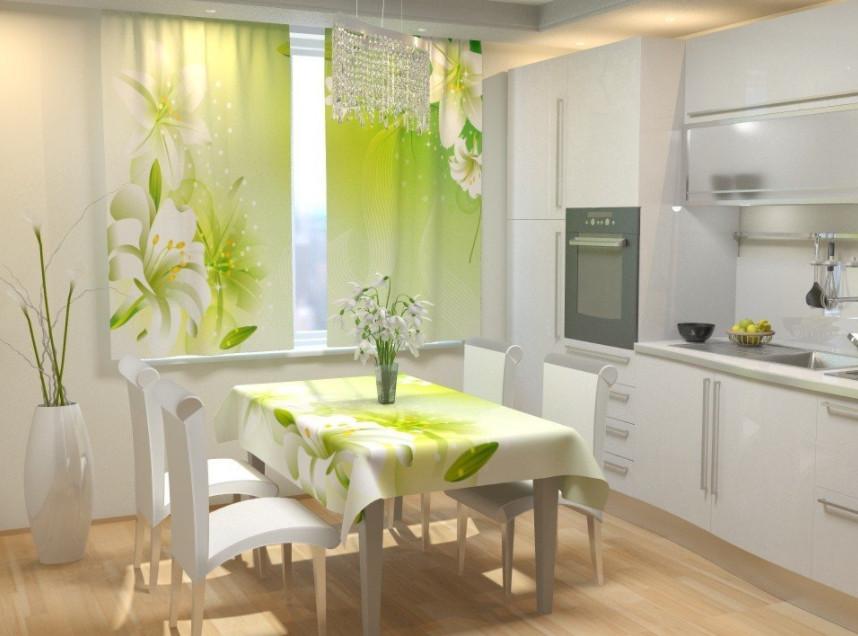 Фотошторы для кухни лилии