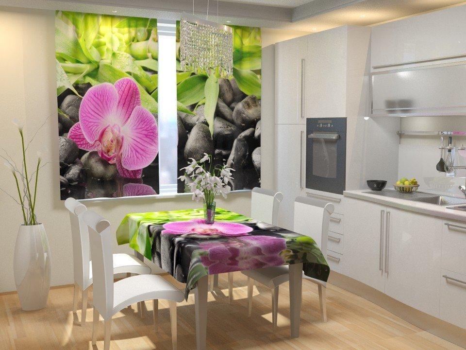 Фотошторы для кухни орхидея на камнях