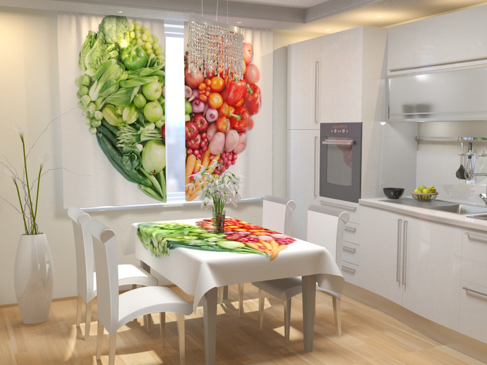 Фотошторы для кухни сердце из овощей