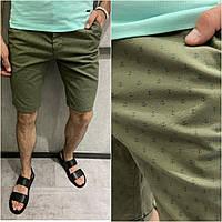 Мужские хлопковые шорты зеленого цвета (зеленые) с принтом якорь Турция