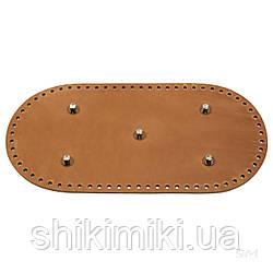 Дно сумки з натуральної шкіри з ніжками, 30*15, колір рудий, матовий