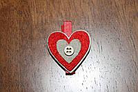 Деревянные прищепки для декора *Сердце из войлока*