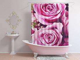 Штори для ванної пурпурові троянди