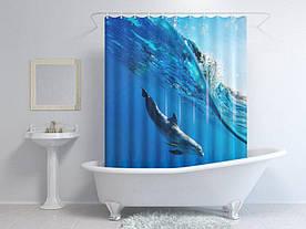 Штори для ванної дельфін під водою