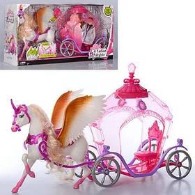 Карета большая з лошадкой., для кукол 29 см. В коробке