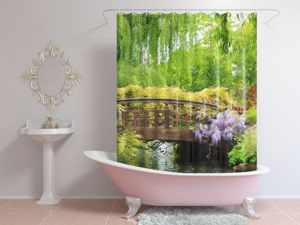 Шторы для ванной мост в цветах