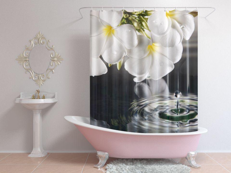 Шторы для ванной белые цветы