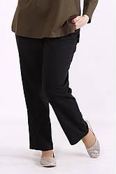 Лляні літні брюки для жінок батальні чорні