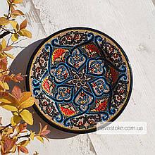 Узбекская тарелка точечная техника d 17 см. Риштан (2)