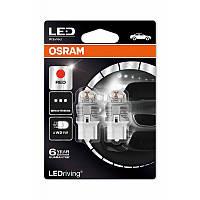 OSRAM Premium W21W 12V W3X16d RED. Комплект светодиодных красных авто ламп для стоп сигналов.