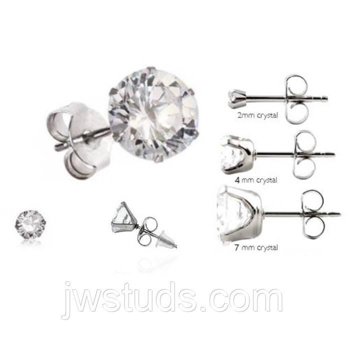 Набор серьги - гвоздики пусеты 3 пары сталь с кубическим цирконием, диаметр: 7мм, 4мм, 2мм