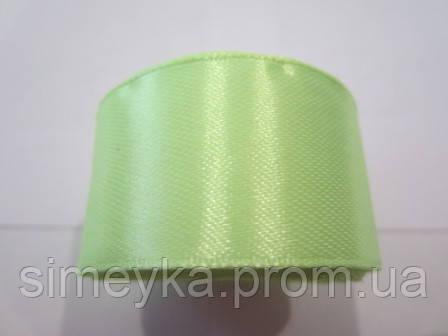 Лента атлас 2,5 см, цвет бледно-салатовый неон