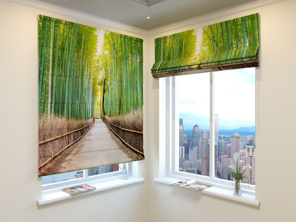Римские шторы дорога через бамбук
