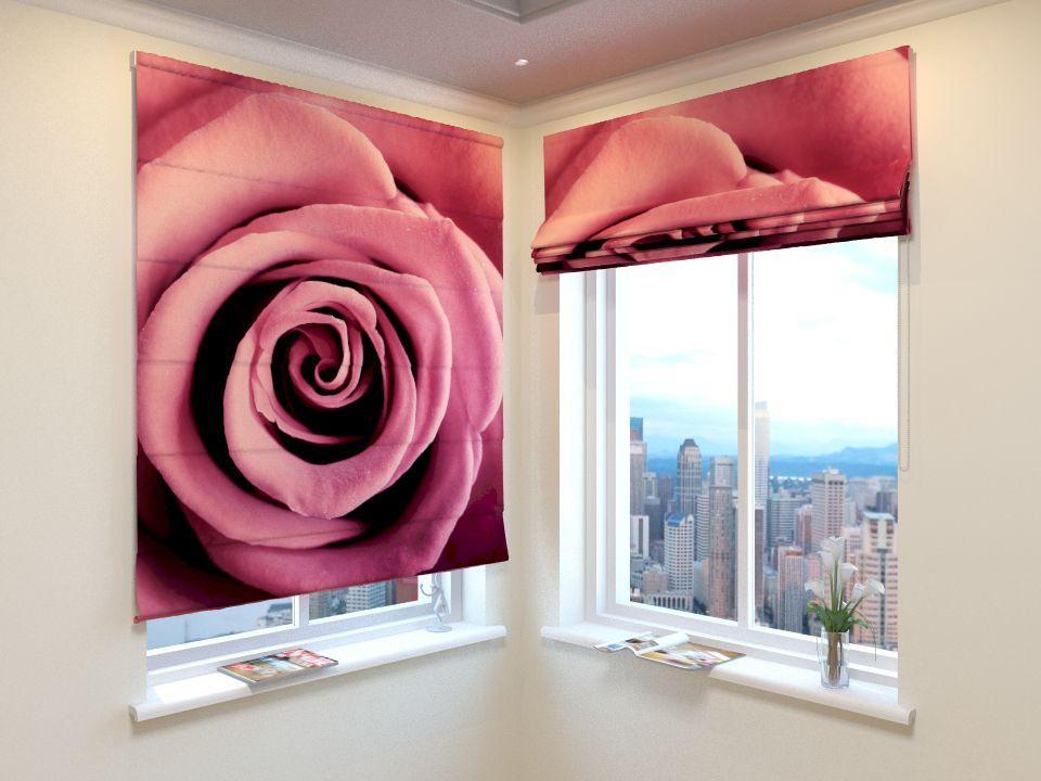 Римские шторы красная роза