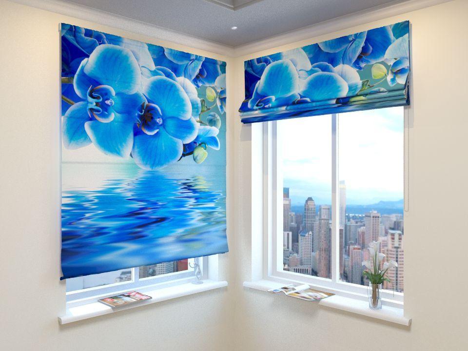 Римські штори блакитна орхідея