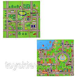 Коврик пазл EVA1656 (10шт) дорога, 2 вида, 4 детали, р-р упаковки - 61*61*4 см, р-р игрушки – 120*12