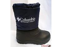 Сапоги дутики подростковые-детские зимние Columbia черные темно-синие C0006