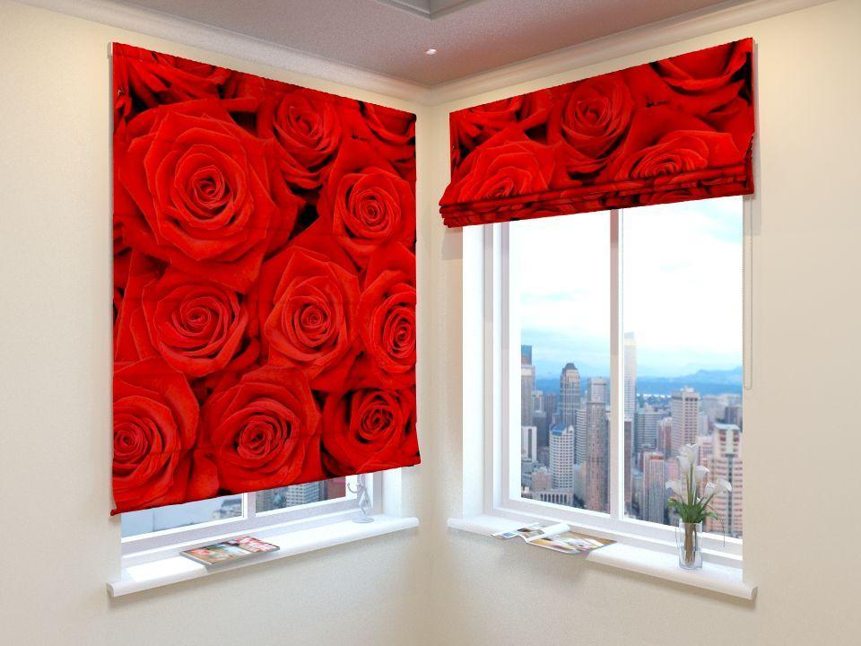 Римські штори букет з червоних троянд