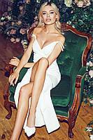 Шикарное длинное белое вечернее платье 42 44 46 48р