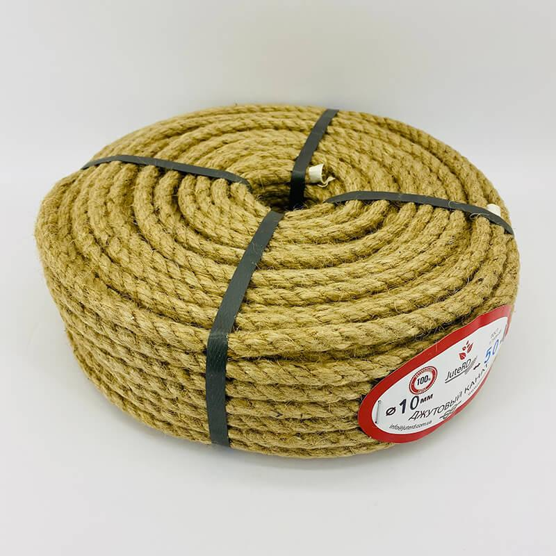Веревка джутовая витая декоративная 10 мм 50 м