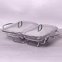 Марміт подвійний скляний 21.5 л з металевими кришками і підставкою 6415