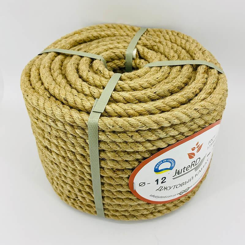 Веревка джутовая витая декоративная 12 мм 50м