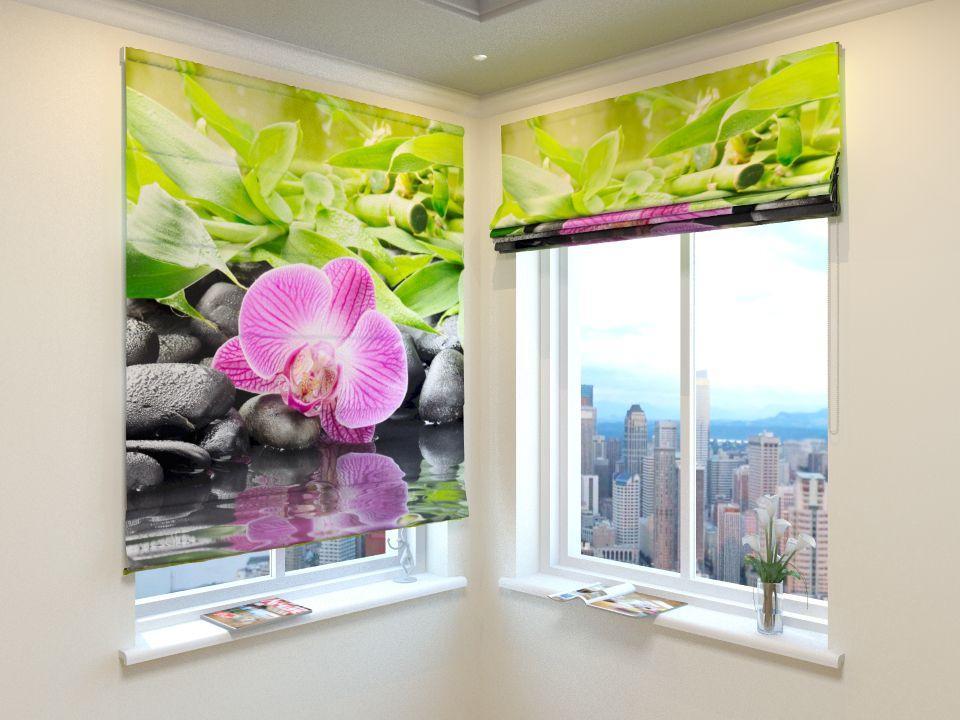 Римські штори орхідея і бамбук