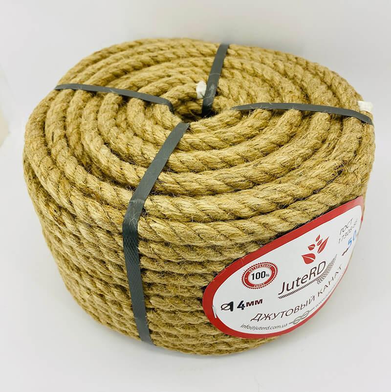 Веревка джутовая витая декоративная 14 мм 50 м