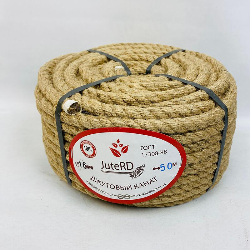 Веревка джутовая витая декоративная 16 мм 50 м