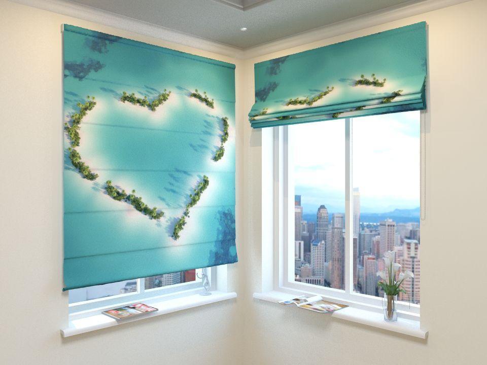 Римские шторы остров сердце