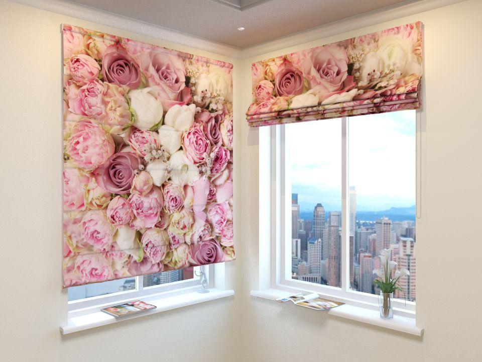 Римські штори 3д рожеві троянди