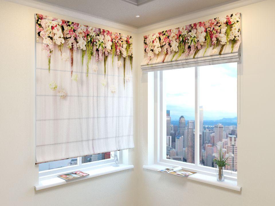 Римские шторы арка с орхидеями