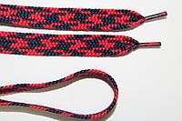 Шнурки плоские 12мм, красный + т. синий