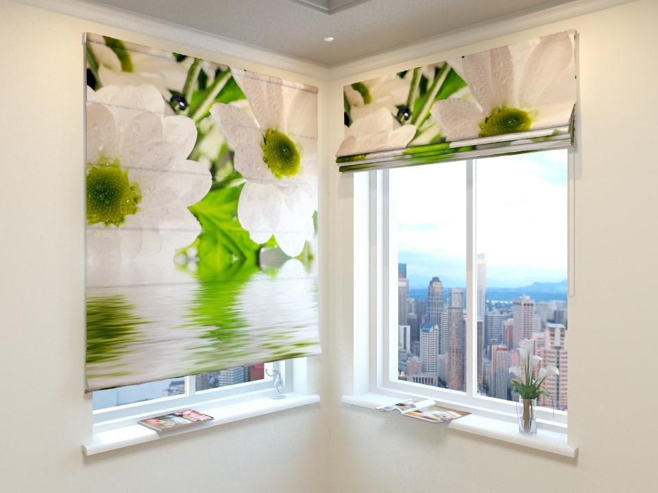 Римские шторы белые цветы