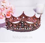 Game of thrones - Кругла корона з камінням чорного, сірого та кольору шампань, перлинами (6см), фото 9