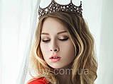 Game of thrones - Кругла корона з камінням чорного, сірого та кольору шампань, перлинами (6см), фото 5