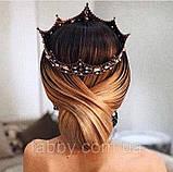 Game of thrones - Кругла корона з камінням чорного, сірого та кольору шампань, перлинами (6см), фото 3