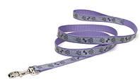 Свето-отражающий поводок для собак Coastal Lazer, лапа кость фиолетовый | 2,5 см.Х1,8 м.