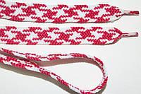 Шнурки плоские 12мм, малина + белый