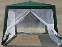 Садовый павильон 3х3 метра со стенами из москитной сетки тент из полипропилена