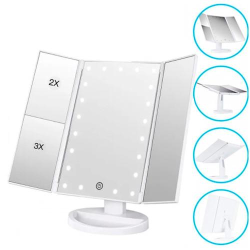 Зеркало тройное для макияжа с LED подсветкой USB, настольное, УЦЕНКА W3