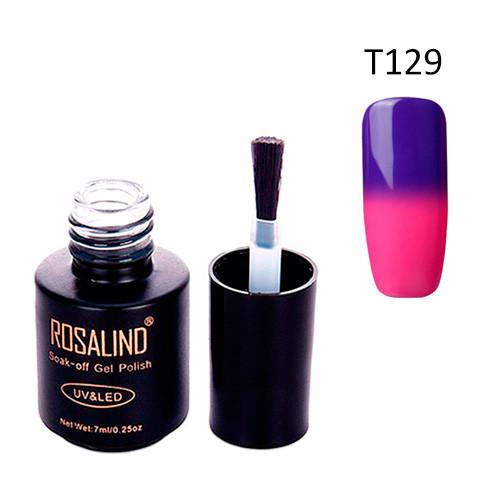 Гель-лак для ногтей маникюра 7мл Rosalind, термо, Т129 слива фуксия