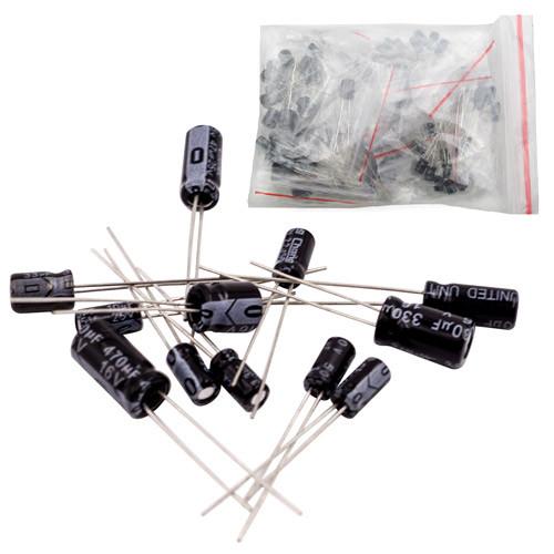 120x Конденсатор електролітичний 0.22-470мкФ 16-50В, набір
