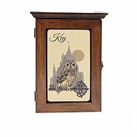 Деревянная настенная ключница Символ мудрости (темное дерево)