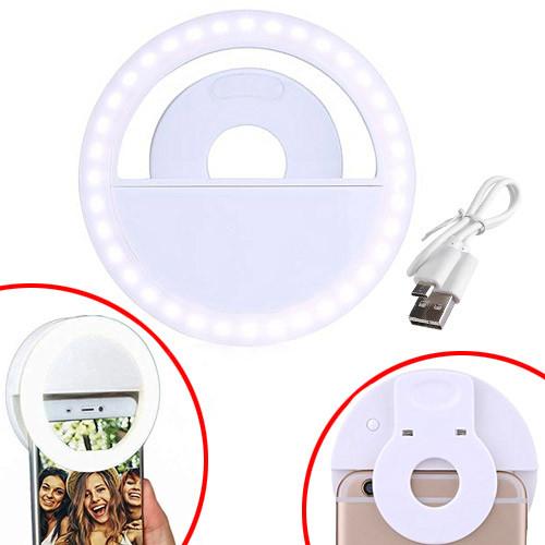 Кільцева LED лампа для селфі на смартфон кліпса, прищіпка, з АКБ