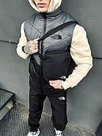 Жилетка мужская + штаны + барсетка костюм осенний весенний 'Clip' TNF серая-черная безрукавка the north face