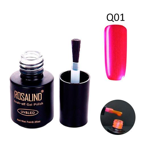 Гель-лак для ногтей маникюра 7мл Rosalind, шеллак витражный, Q01 розовый
