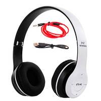 Навушники бездротові Bluetooth гарнітура P47 MicroSD, білі
