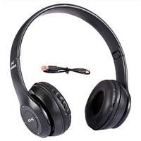 Навушники бездротові Bluetooth гарнітура P47 MicroSD, чорні