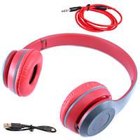 Навушники бездротові Bluetooth гарнітура P47 MicroSD, червоні